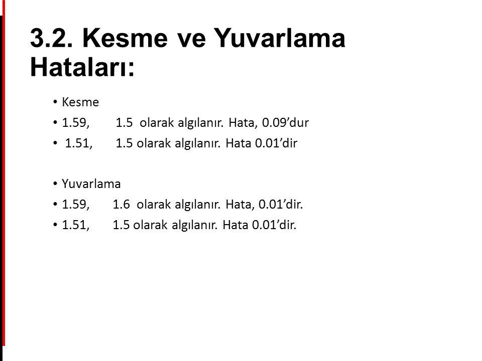 3.2. Kesme ve Yuvarlama Hataları: Kesme 1.59, 1.5 olarak algılanır. Hata, 0.09'dur 1.51, 1.5 olarak algılanır. Hata 0.01'dir Yuvarlama 1.59, 1.6 olara