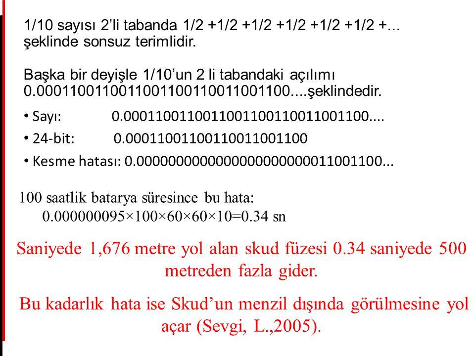 1/10 sayısı 2'li tabanda 1/2 +1/2 +1/2 +1/2 +1/2 +1/2 +... şeklinde sonsuz terimlidir. Başka bir deyişle 1/10'un 2 li tabandaki açılımı 0.000110011001