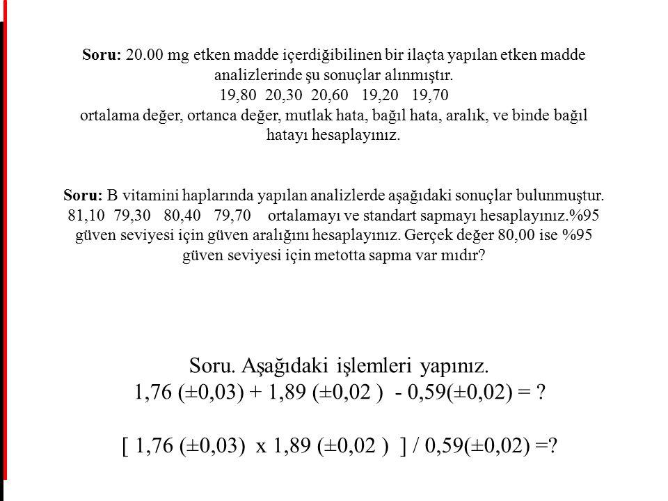 Soru: 20.00 mg etken madde içerdiğibilinen bir ilaçta yapılan etken madde analizlerinde şu sonuçlar alınmıştır. 19,80 20,30 20,60 19,20 19,70 ortalama