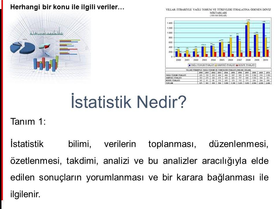 İstatistik Nedir? Tanım 1: İstatistik bilimi, verilerin toplanması, düzenlenmesi, özetlenmesi, takdimi, analizi ve bu analizler aracılığıyla elde edil