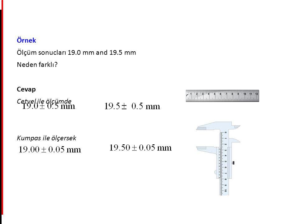 Örnek Ölçüm sonucları 19.0 mm and 19.5 mm Neden farklı? Cevap Cetvel ile ölçümde Kumpas ile ölçersek