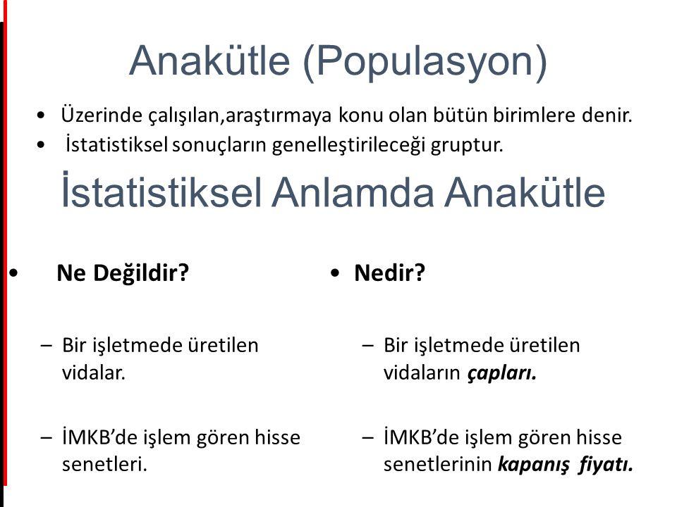 Anakütle (Populasyon) Üzerinde çalışılan,araştırmaya konu olan bütün birimlere denir. İstatistiksel sonuçların genelleştirileceği gruptur. İstatistiks