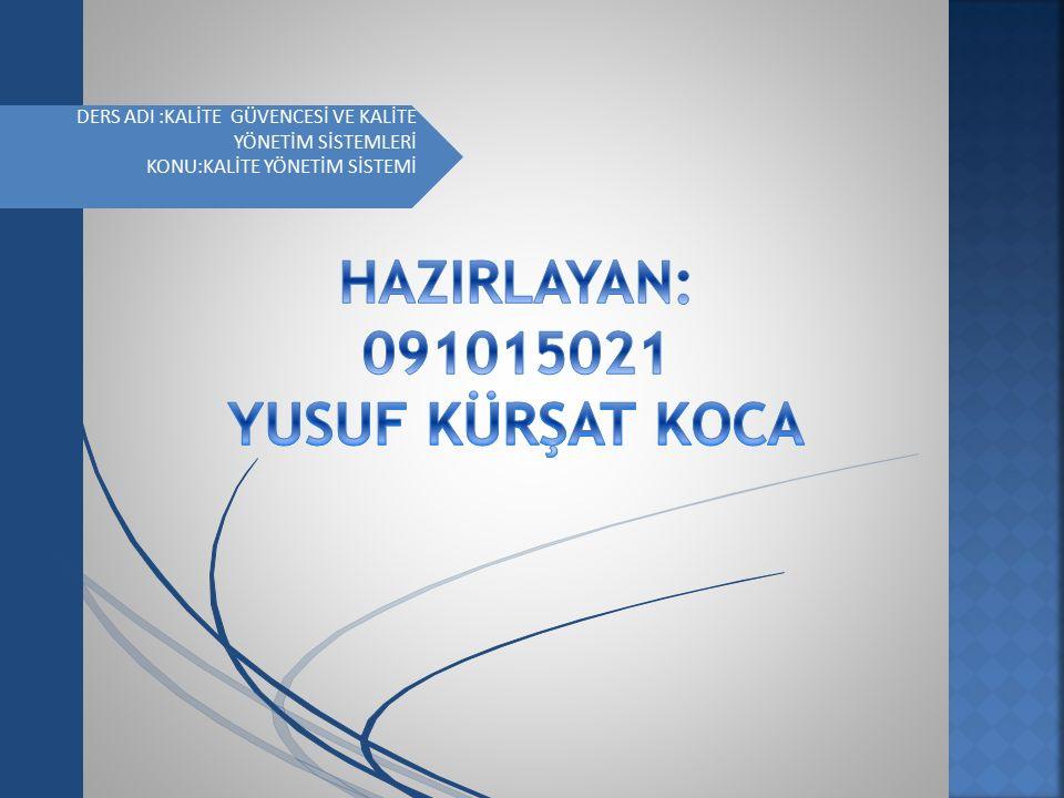 KALİTE YÖNETİMİ SİSTEMİ ISO 9000 KALİTE YÖNETİM SİSTEMİ STANDARTLARI ISO 9000 standardı 1987 yılında (ISO) Uluslar arası Standardizasyon Kuruluşu'nca,uluslar arası standart olarak onaylanıp yayınlanan ve halen AB ülkelerinde de uygulanmakta olan bir uluslar arası yönetim kalitesi standardıdır.ISO 9000 Kalite Standartları serisi,etkili bir yönetim sisteminin nasıl kurulabileceğini,dökümante edilebileceğini ve sürdürülebileceğini göz önüne sermektedir.
