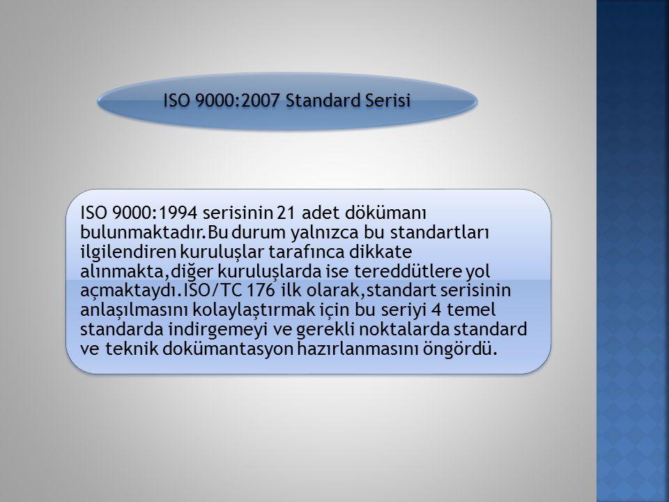 ISO 9000:2007 Standard Serisi ISO 9000:1994 serisinin 21 adet dökümanı bulunmaktadır.Bu durum yalnızca bu standartları ilgilendiren kuruluşlar tarafınca dikkate alınmakta,diğer kuruluşlarda ise tereddütlere yol açmaktaydı.ISO/TC 176 ilk olarak,standart serisinin anlaşılmasını kolaylaştırmak için bu seriyi 4 temel standarda indirgemeyi ve gerekli noktalarda standard ve teknik dokümantasyon hazırlanmasını öngördü.