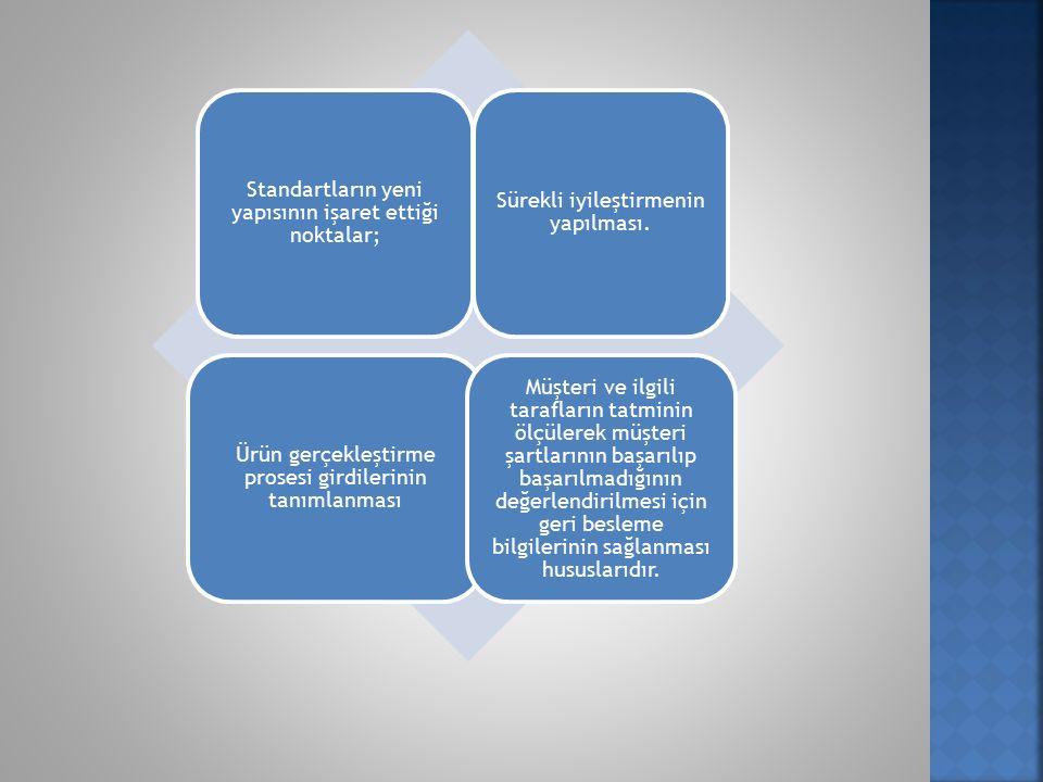 Standartların yeni yapısının işaret ettiği noktalar; Sürekli iyileştirmenin yapılması.