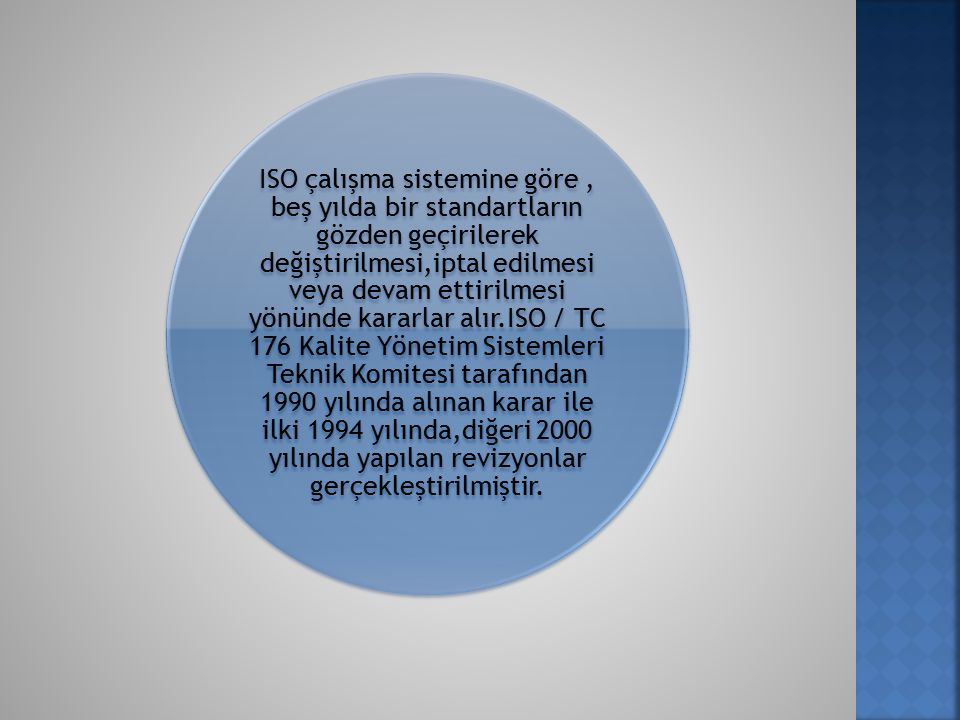 ISO çalışma sistemine göre, beş yılda bir standartların gözden geçirilerek değiştirilmesi,iptal edilmesi veya devam ettirilmesi yönünde kararlar alır.ISO / TC 176 Kalite Yönetim Sistemleri Teknik Komitesi tarafından 1990 yılında alınan karar ile ilki 1994 yılında,diğeri 2000 yılında yapılan revizyonlar gerçekleştirilmiştir.