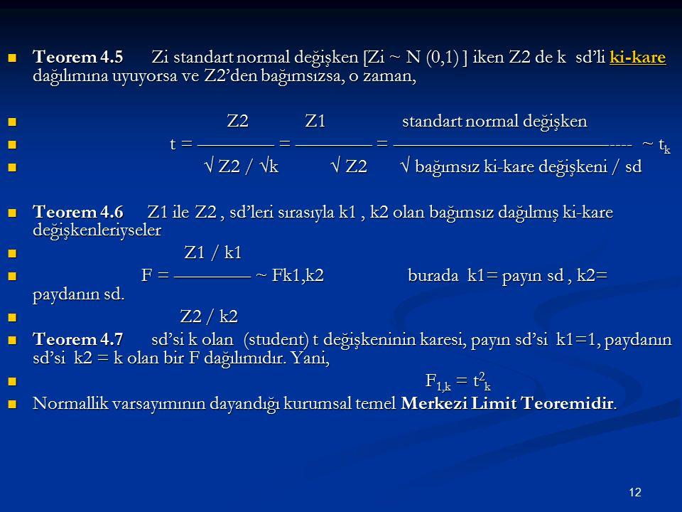 12 Teorem 4.5 Zi standart normal değişken [Zi ~ N (0,1) ] iken Z2 de k sd'li ki-kare dağılımına uyuyorsa ve Z2'den bağımsızsa, o zaman, Teorem 4.5 Zi