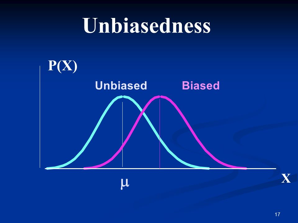 17  Unbiasedness BiasedUnbiased P(X) X