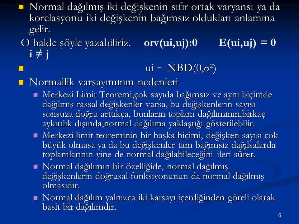 6 Normal dağılmış iki değişkenin sıfır ortak varyansı ya da korelasyonu iki değişkenin bağımsız oldukları anlamına gelir. Normal dağılmış iki değişken