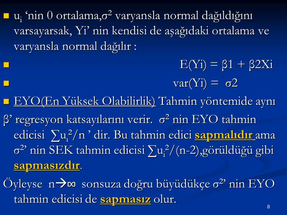 8 u i 'nin 0 ortalama,σ 2 varyansla normal dağıldığını varsayarsak, Yi' nin kendisi de aşağıdaki ortalama ve varyansla normal dağılır : u i 'nin 0 ort
