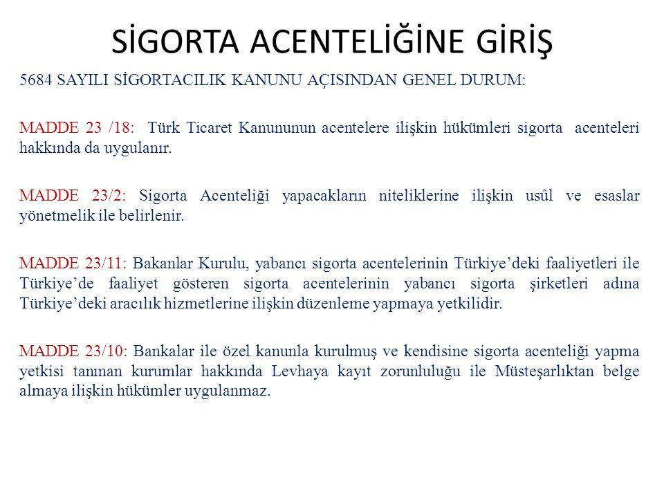 SİGORTA ACENTELİĞİNE GİRİŞ 5684 SAYILI SİGORTACILIK KANUNU AÇISINDAN GENEL DURUM: MADDE 23 /18: Türk Ticaret Kanununun acentelere ilişkin hükümleri si
