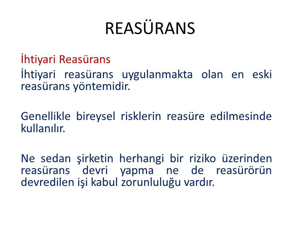 REASÜRANS Zorunlu Reasürans Zorunlu reasürans uygulamada genellikle trete reasüransı olarak adlandırılır.