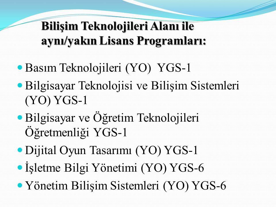 Bilişim Teknolojileri Alanı ile aynı/yakın Lisans Programları: Basım Teknolojileri (YO) YGS-1 Bilgisayar Teknolojisi ve Bilişim Sistemleri (YO) YGS-1 Bilgisayar ve Öğretim Teknolojileri Öğretmenliği YGS-1 Dijital Oyun Tasarımı (YO) YGS-1 İşletme Bilgi Yönetimi (YO) YGS-6 Yönetim Bilişim Sistemleri (YO) YGS-6