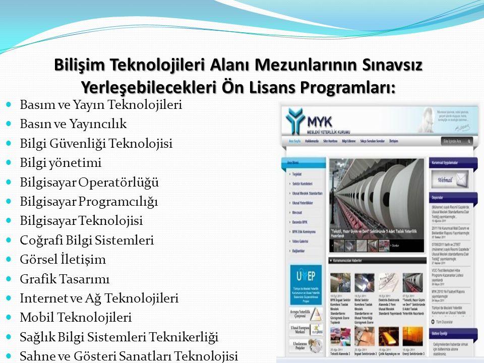 Bilişim Teknolojileri Alanı Mezunlarının Sınavsız Yerleşebilecekleri Ön Lisans Programları: Basım ve Yayın Teknolojileri Basın ve Yayıncılık Bilgi Güvenliği Teknolojisi Bilgi yönetimi Bilgisayar Operatörlüğü Bilgisayar Programcılığı Bilgisayar Teknolojisi Coğrafi Bilgi Sistemleri Görsel İletişim Grafik Tasarımı Internet ve Ağ Teknolojileri Mobil Teknolojileri Sağlık Bilgi Sistemleri Teknikerliği Sahne ve Gösteri Sanatları Teknolojisi