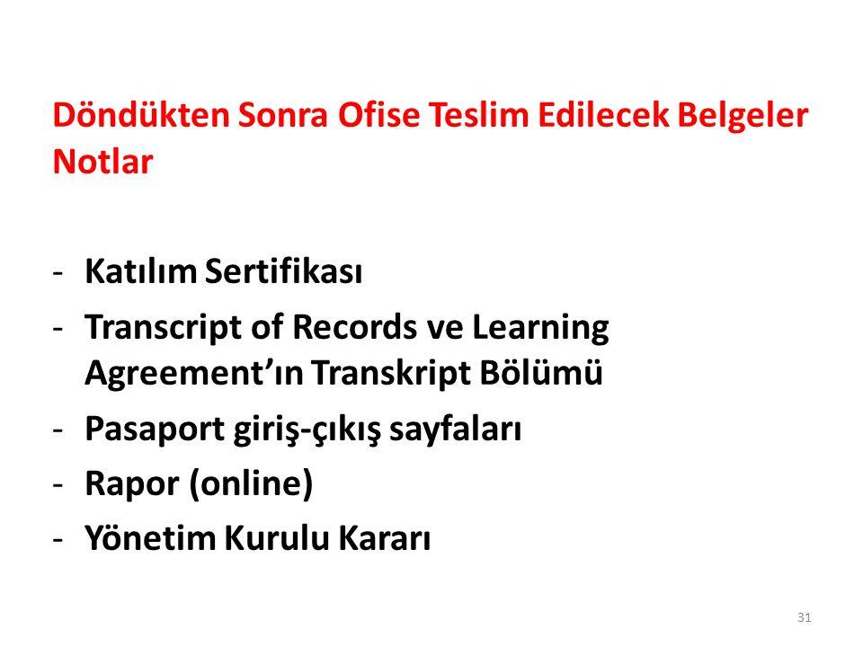 Döndükten Sonra Ofise Teslim Edilecek Belgeler Notlar -Katılım Sertifikası -Transcript of Records ve Learning Agreement'ın Transkript Bölümü -Pasaport giriş-çıkış sayfaları -Rapor (online) -Yönetim Kurulu Kararı 31