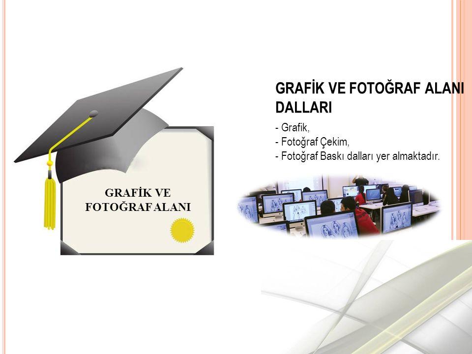GRAFİK VE FOTOĞRAF ALANI DALLARI - Grafik, - Fotoğraf Çekim, - Fotoğraf Baskı dalları yer almaktadır.