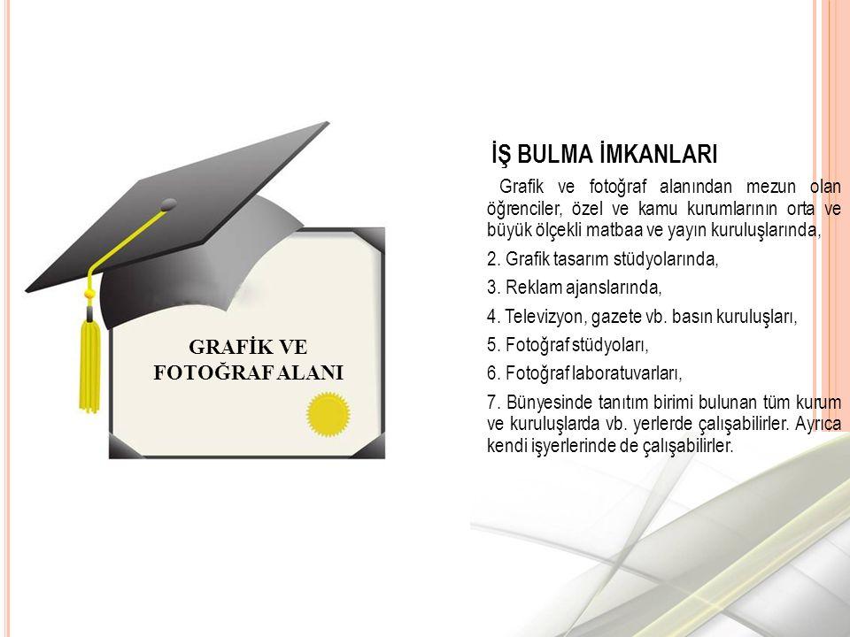 İŞ BULMA İMKANLARI Grafik ve fotoğraf alanından mezun olan öğrenciler, özel ve kamu kurumlarının orta ve büyük ölçekli matbaa ve yayın kuruluşlarında, 2.