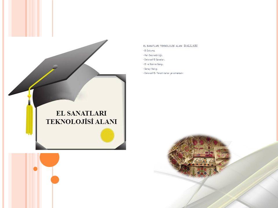 EL SANATLARI TEKNOLOJİSİ ALANI DALLARI - El Dokuma, - Halı Desinatörlüğü, - Dekoratif El Sanatları, - El ve Makine Nakışı, - Sanayi Nakışı, - Dekoratif Ev Tekstili dalları yer almaktadır.