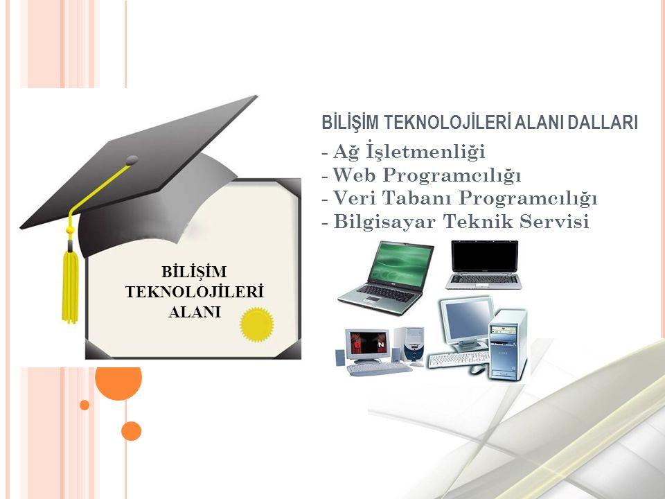 BİLİŞİM TEKNOLOJİLERİ ALANI DALLARI - Ağ İşletmenliği - Web Programcılığı - Veri Tabanı Programcılığı - Bilgisayar Teknik Servisi BİLİŞİM TEKNOLOJİLERİ ALANI