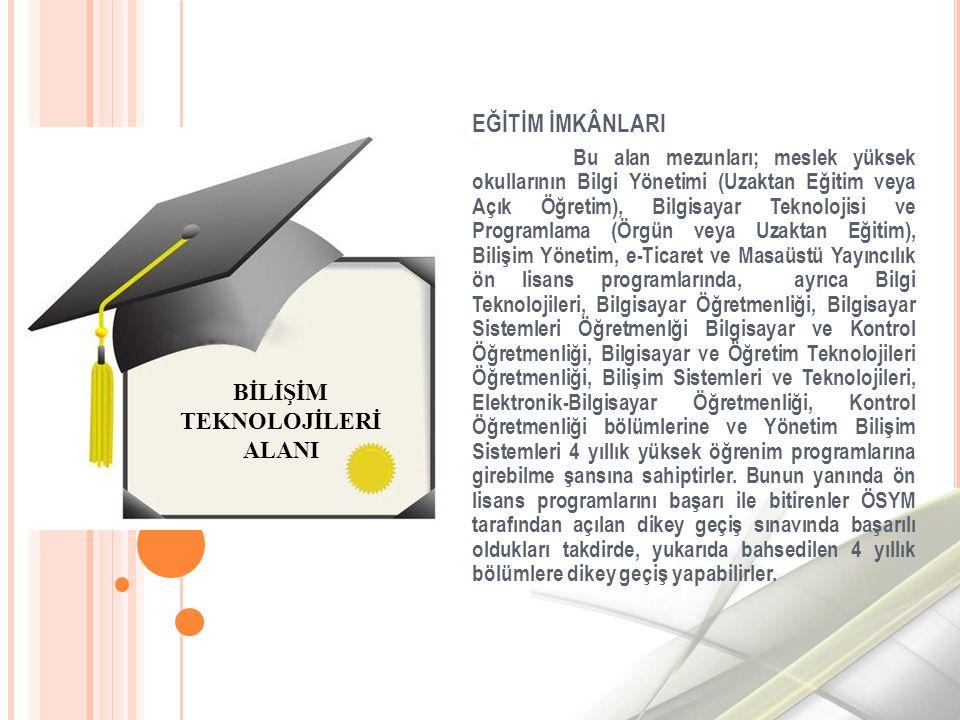EĞİTİM İMKÂNLARI Bu alan mezunları; meslek yüksek okullarının Bilgi Yönetimi (Uzaktan Eğitim veya Açık Öğretim), Bilgisayar Teknolojisi ve Programlama (Örgün veya Uzaktan Eğitim), Bilişim Yönetim, e-Ticaret ve Masaüstü Yayıncılık ön lisans programlarında, ayrıca Bilgi Teknolojileri, Bilgisayar Öğretmenliği, Bilgisayar Sistemleri Öğretmenlği Bilgisayar ve Kontrol Öğretmenliği, Bilgisayar ve Öğretim Teknolojileri Öğretmenliği, Bilişim Sistemleri ve Teknolojileri, Elektronik-Bilgisayar Öğretmenliği, Kontrol Öğretmenliği bölümlerine ve Yönetim Bilişim Sistemleri 4 yıllık yüksek öğrenim programlarına girebilme şansına sahiptirler.