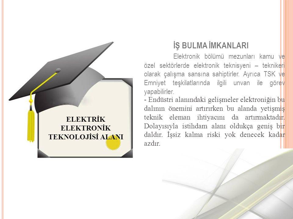 İŞ BULMA İMKANLARI Elektronik bölümü mezunları kamu ve özel sektörlerde elektronik teknisyeni – teknikeri olarak çalışma sansına sahiptirler.