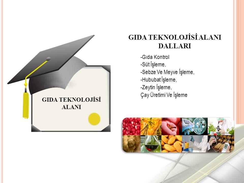 -Gıda Kontrol -Süt İşleme, -Sebze Ve Meyve İşleme, -Hububat İşleme, -Zeytin İşleme, Çay Üretimi Ve İşleme GIDA TEKNOLOJİSİ ALANI GIDA TEKNOLOJİSİ ALANI DALLARI