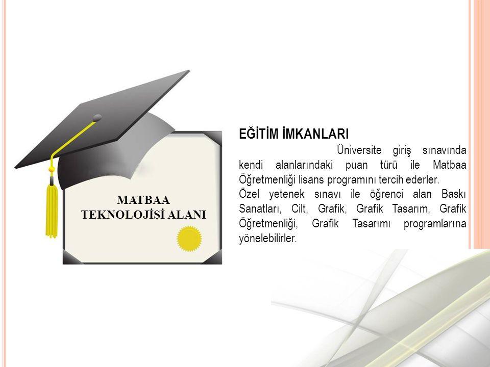 MATBAA TEKNOLOJİSİ ALANI EĞİTİM İMKANLARI Üniversite giriş sınavında kendi alanlarındaki puan türü ile Matbaa Öğretmenliği lisans programını tercih ederler.