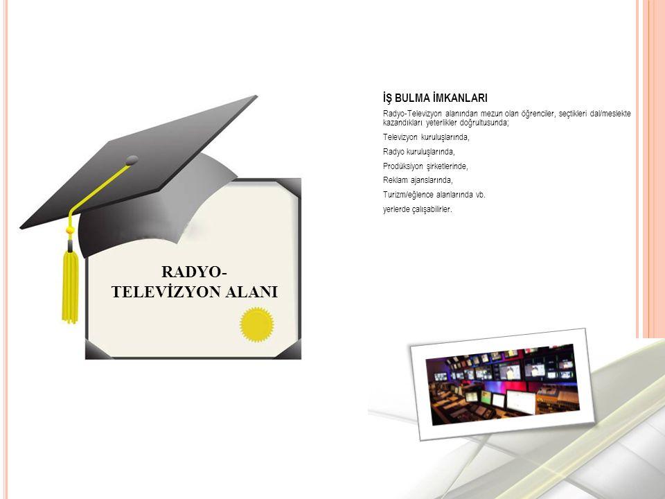 İŞ BULMA İMKANLARI Radyo-Televizyon alanından mezun olan öğrenciler, seçtikleri dal/meslekte kazandıkları yeterlikler doğrultusunda; Televizyon kuruluşlarında, Radyo kuruluşlarında, Prodüksiyon şirketlerinde, Reklam ajanslarında, Turizm/eğlence alanlarında vb.