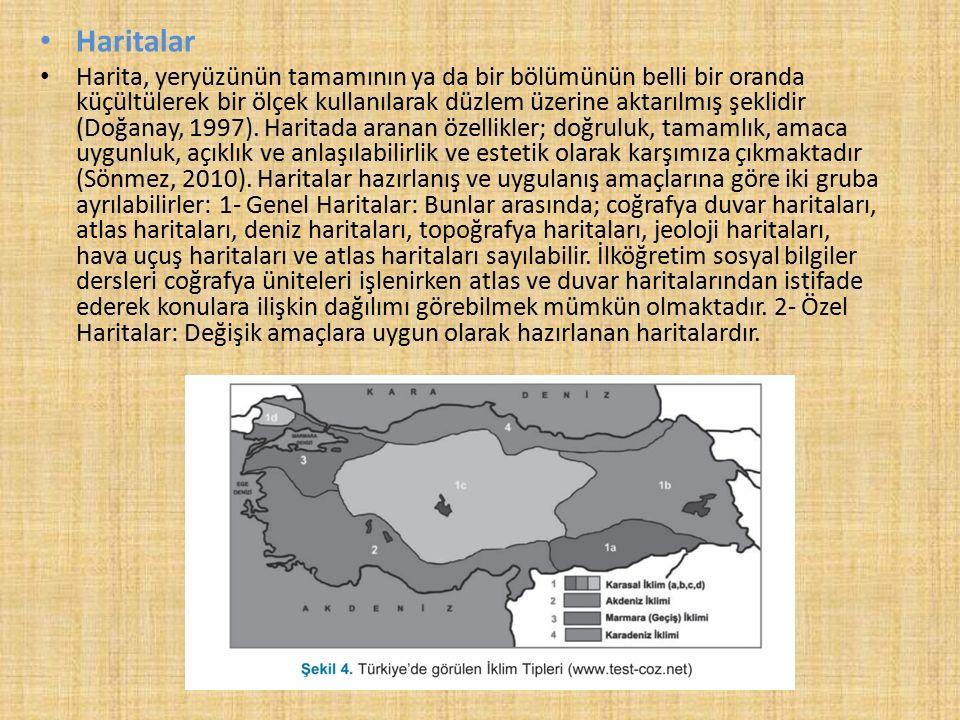 Haritalar Harita, yeryüzünün tamamının ya da bir bölümünün belli bir oranda küçültülerek bir ölçek kullanılarak düzlem üzerine aktarılmış şeklidir (Doğanay, 1997).
