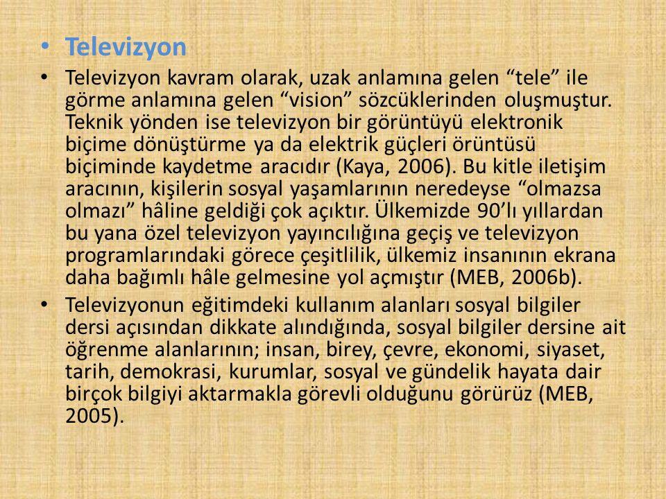 """Televizyon Televizyon kavram olarak, uzak anlamına gelen """"tele"""" ile görme anlamına gelen """"vision"""" sözcüklerinden oluşmuştur. Teknik yönden ise televiz"""