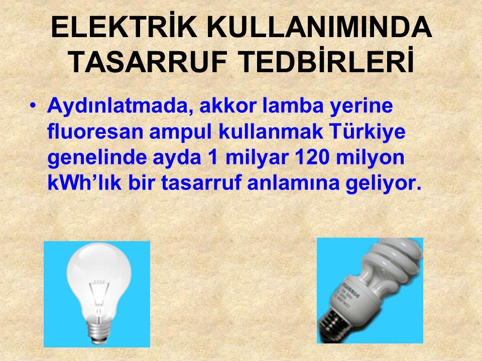 Aydınlatmada, akkor lamba yerine fluoresan ampul kullanmak Türkiye genelinde ayda 1 milyar 120 milyon kWh'lık bir tasarruf anlamına geliyor. ELEKTRİK
