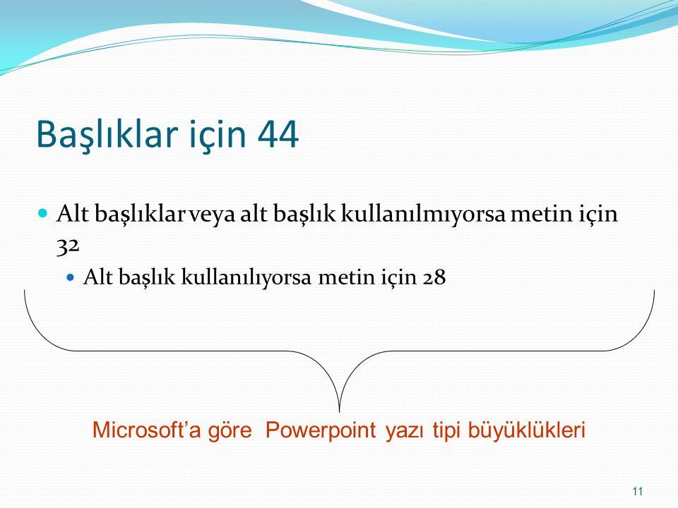 Başlıklar için 44 Alt başlıklar veya alt başlık kullanılmıyorsa metin için 32 Alt başlık kullanılıyorsa metin için 28 11 Microsoft'a göre Powerpoint y