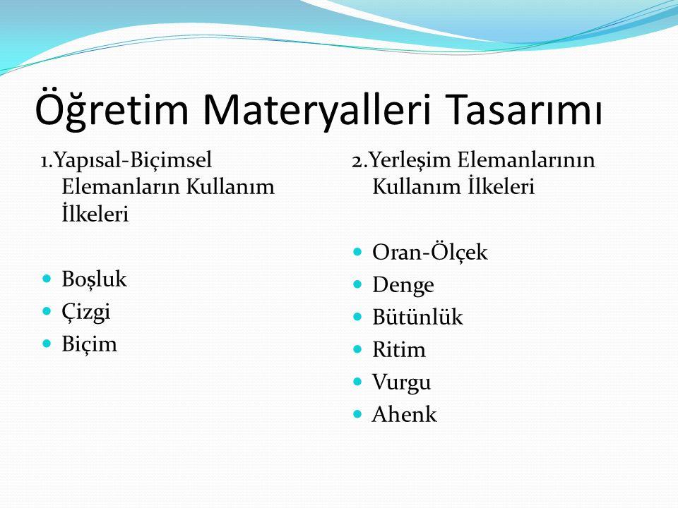 Öğretim Materyalleri Tasarımı 1.Yapısal-Biçimsel Elemanların Kullanım İlkeleri Boşluk Boşluk Çizgi Çizgi Biçim Biçim 2.Yerleşim Elemanlarının Kullanım