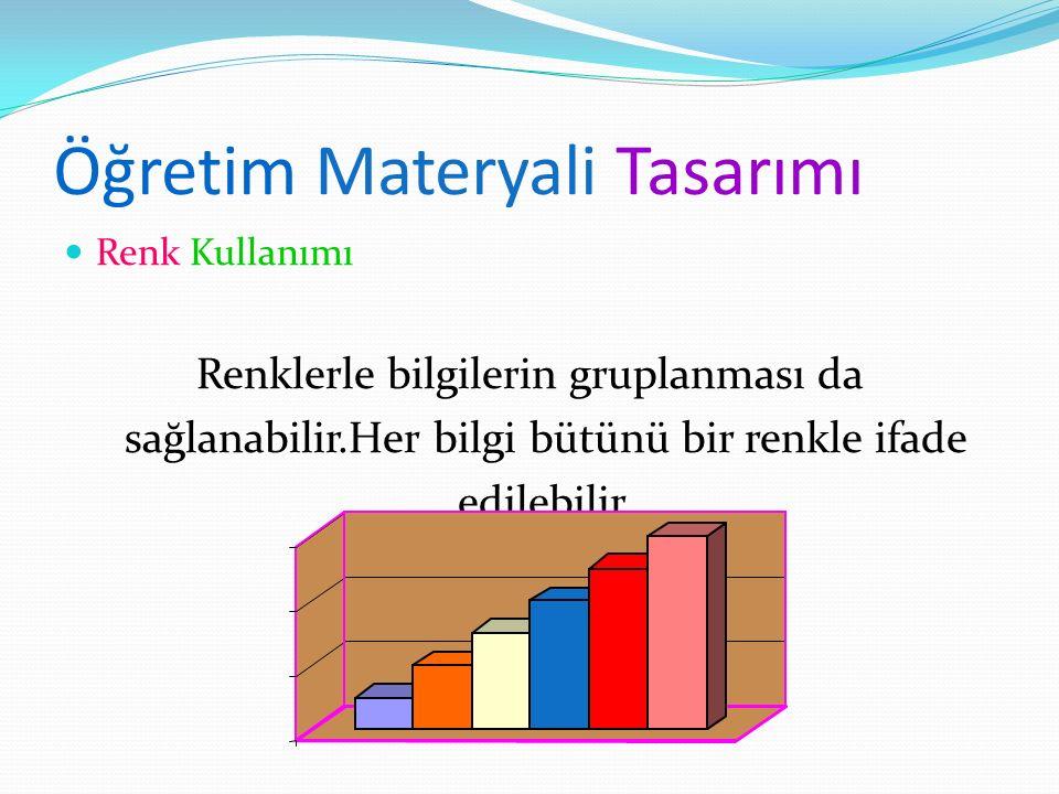 Öğretim Materyali Tasarımı Renk Kullanımı Renklerle bilgilerin gruplanması da sağlanabilir.Her bilgi bütünü bir renkle ifade edilebilir.