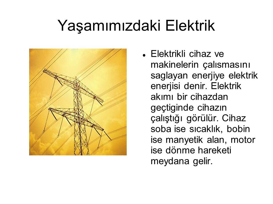 Yaşamımızdaki Elektrik Elektrikli cihaz ve makinelerin çalısmasını saglayan enerjiye elektrik enerjisi denir. Elektrik akımı bir cihazdan geçtiginde c