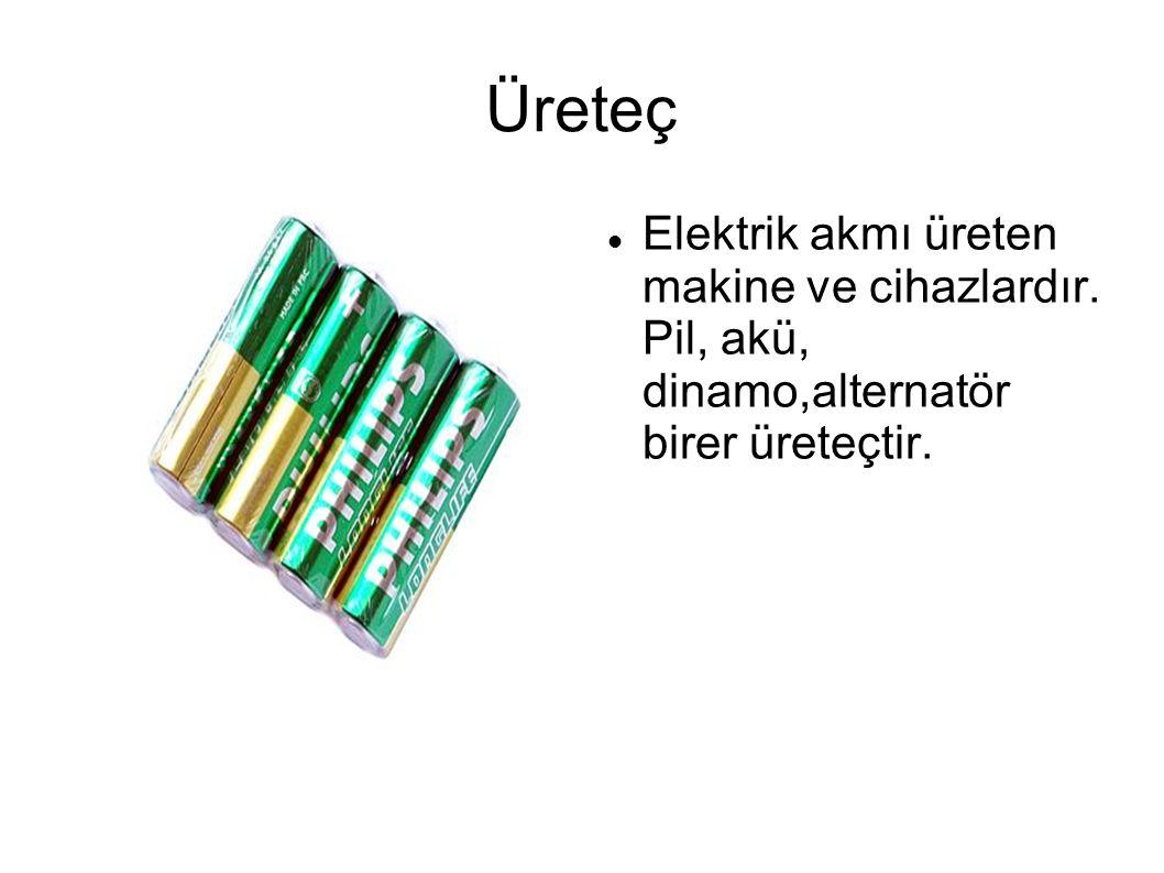 Üreteç Elektrik akmı üreten makine ve cihazlardır. Pil, akü, dinamo,alternatör birer üreteçtir.