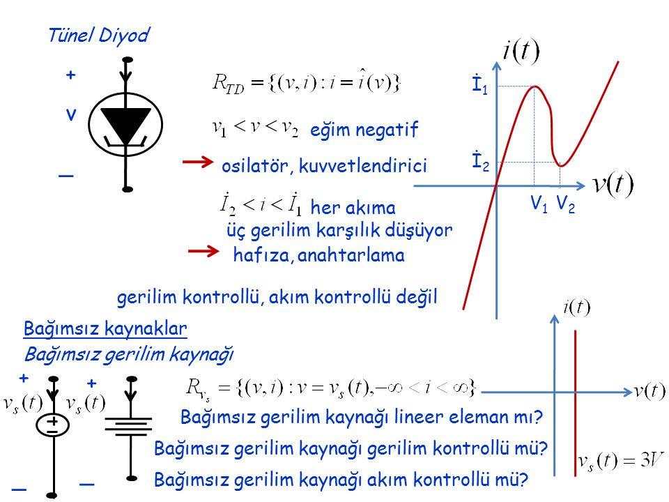 İ2İ2 İ1İ1 V1V1 V2V2 Tünel Diyod + _ v eğim negatif osilatör, kuvvetlendirici her akıma üç gerilim karşılık düşüyor hafıza, anahtarlama gerilim kontrollü, akım kontrollü değil Bağımsız kaynaklar Bağımsız gerilim kaynağı Bağımsız gerilim kaynağı lineer eleman mı.