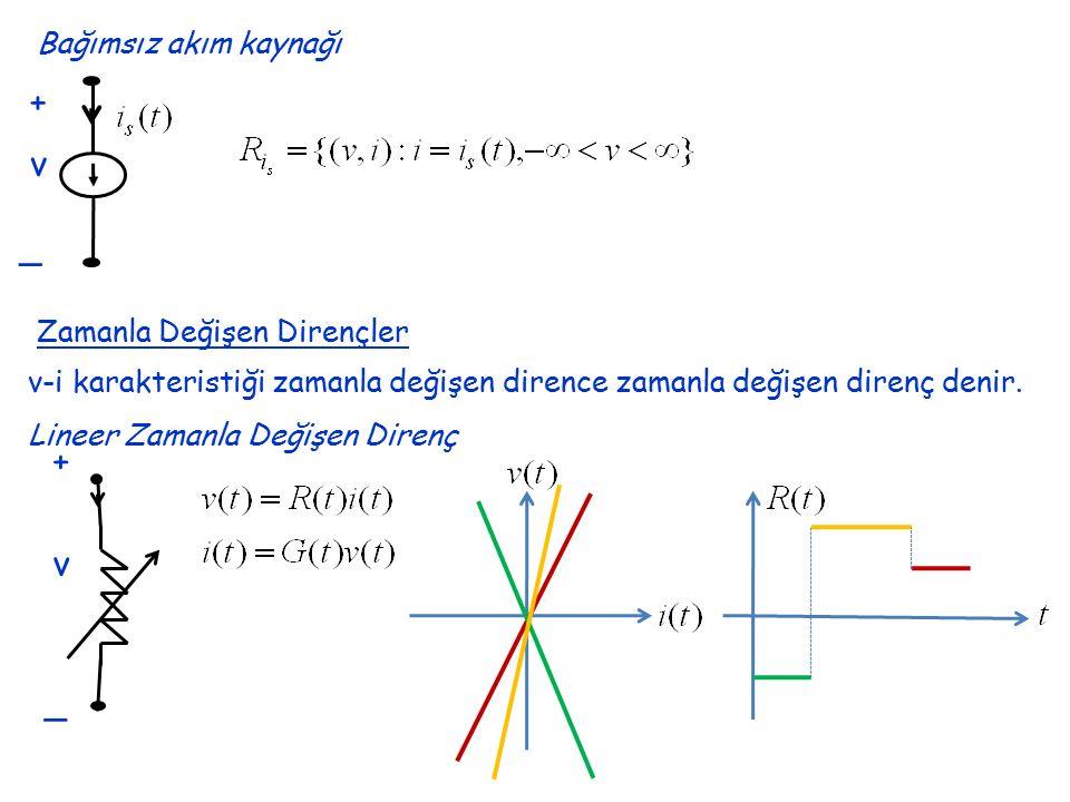 Bağımsız akım kaynağı + _ v Zamanla Değişen Dirençler v-i karakteristiği zamanla değişen dirence zamanla değişen direnç denir. + _ v Lineer Zamanla De