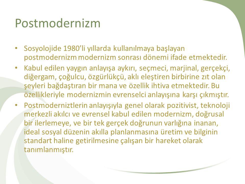 Postmodernizm Sosyolojide 1980'li yıllarda kullanılmaya başlayan postmodernizm modernizm sonrası dönemi ifade etmektedir.