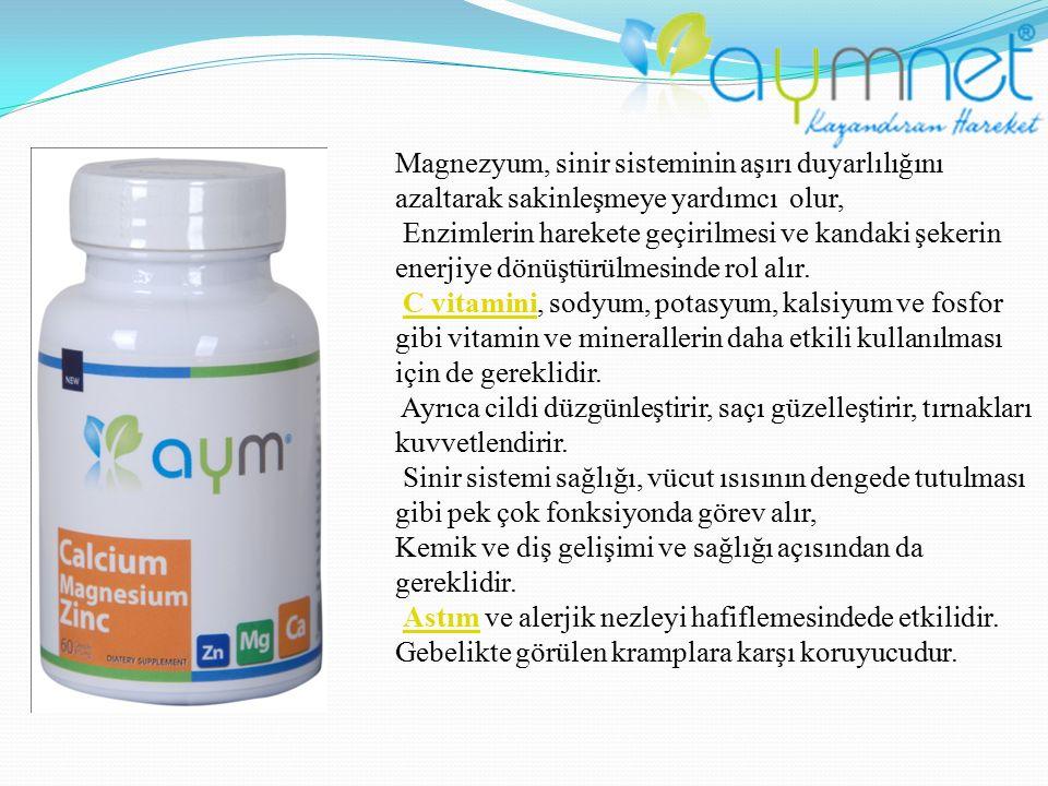 Magnezyum, sinir sisteminin aşırı duyarlılığını azaltarak sakinleşmeye yardımcı olur, Enzimlerin harekete geçirilmesi ve kandaki şekerin enerjiye dönü