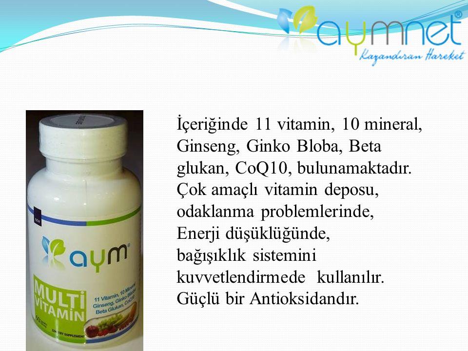İçeriğinde 11 vitamin, 10 mineral, Ginseng, Ginko Bloba, Beta glukan, CoQ10, bulunamaktadır. Çok amaçlı vitamin deposu, odaklanma problemlerinde, Ener