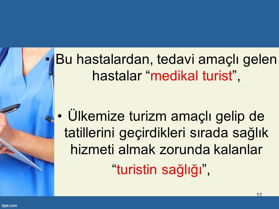 Bu hastalardan, tedavi amaçlı gelen hastalar medikal turist , Ülkemize turizm amaçlı gelip de tatillerini geçirdikleri sırada sağlık hizmeti almak zorunda kalanlar turistin sağlığı , 11