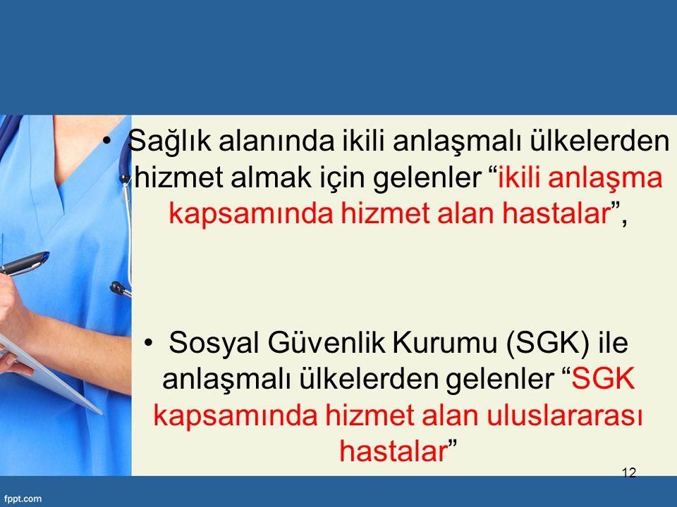 Sağlık alanında ikili anlaşmalı ülkelerden hizmet almak için gelenler ikili anlaşma kapsamında hizmet alan hastalar , Sosyal Güvenlik Kurumu (SGK) ile anlaşmalı ülkelerden gelenler SGK kapsamında hizmet alan uluslararası hastalar 12