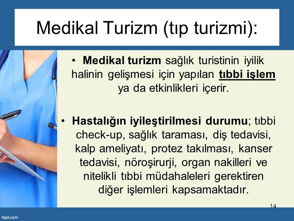 Medikal Turizm (tıp turizmi): Medikal turizm sağlık turistinin iyilik halinin gelişmesi için yapılan tıbbi işlem ya da etkinlikleri içerir.
