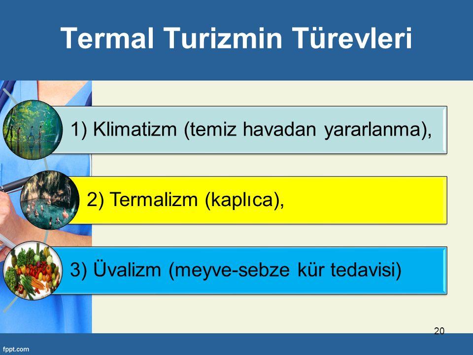 Termal Turizmin Türevleri 1) Klimatizm (temiz havadan yararlanma), 2) Termalizm (kaplıca), 3) Üvalizm (meyve-sebze kür tedavisi) 20