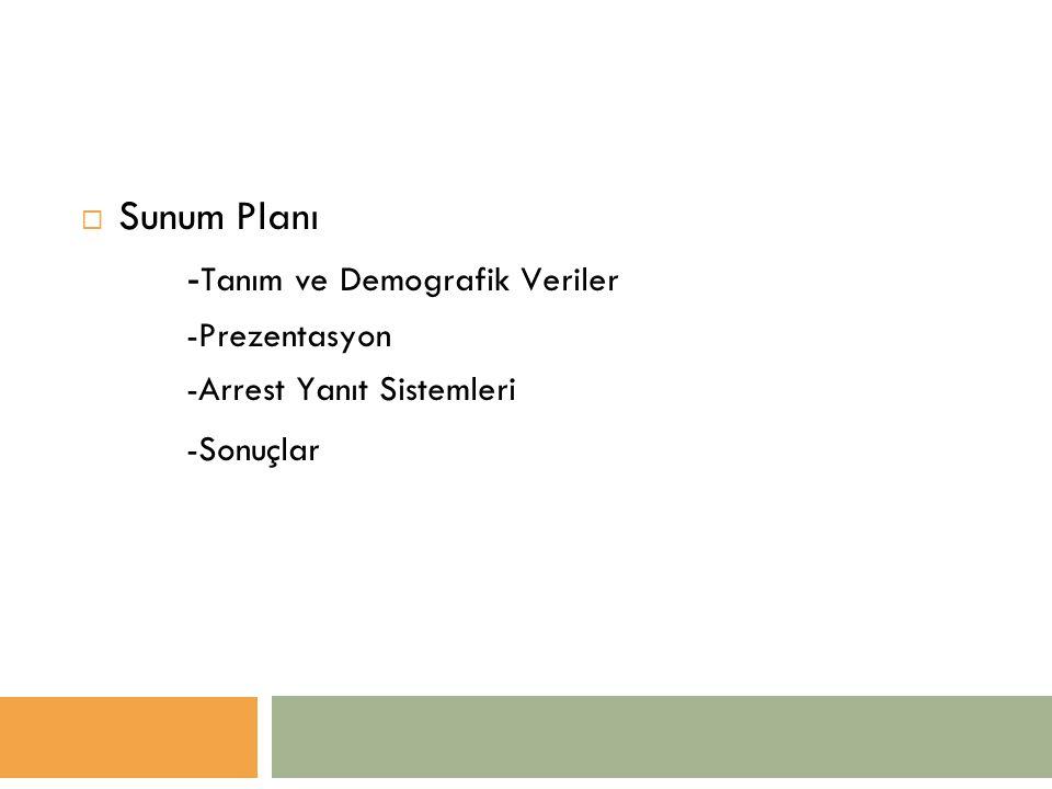  Sunum Planı - Tanım ve Demografik Veriler -Prezentasyon -Arrest Yanıt Sistemleri -Sonuçlar