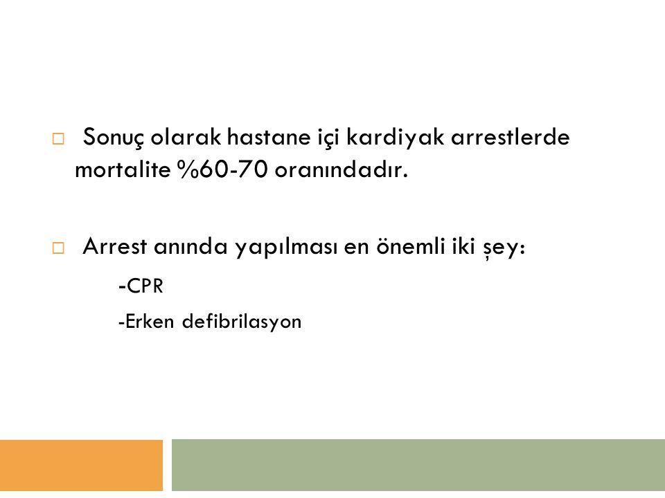  Sonuç olarak hastane içi kardiyak arrestlerde mortalite %60-70 oranındadır.