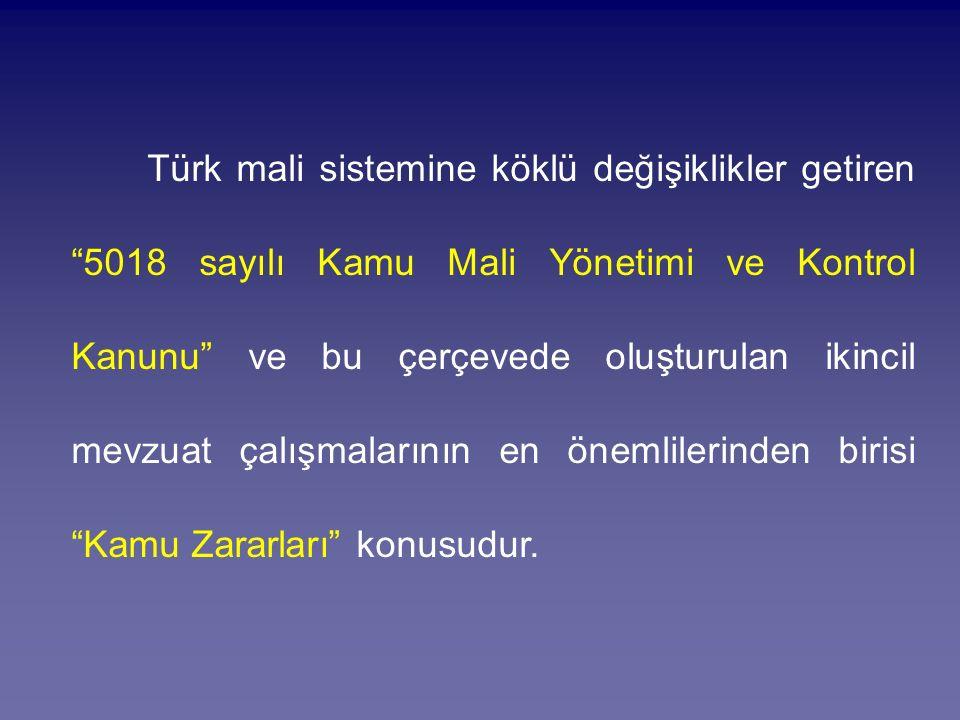 Türk mali sistemine köklü değişiklikler getiren 5018 sayılı Kamu Mali Yönetimi ve Kontrol Kanunu ve bu çerçevede oluşturulan ikincil mevzuat çalışmalarının en önemlilerinden birisi Kamu Zararları konusudur.