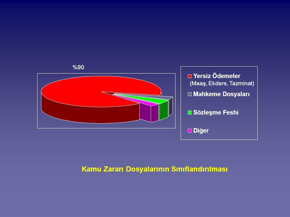 %90 Kamu Zararı Dosyalarının Sınıflandırılması (Maaş, Ekders, Tazminat) Yersiz Ödemeler Mahkeme Dosyaları Sözleşme Feshi Diğer