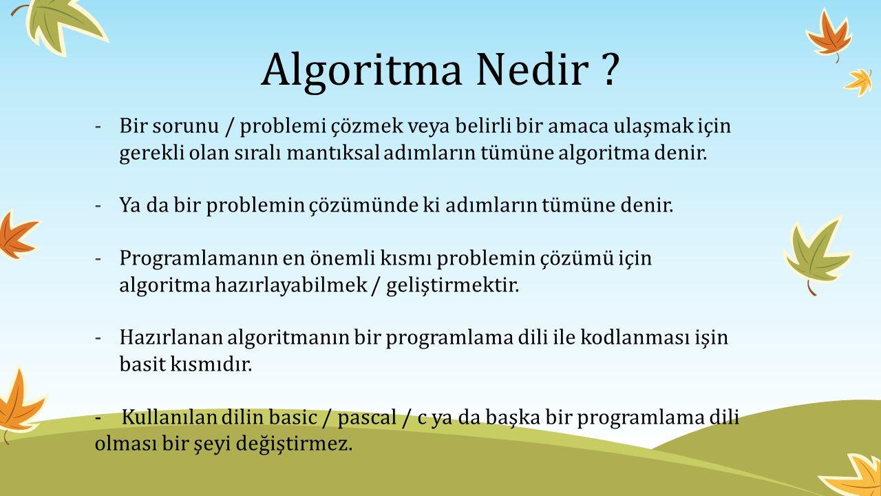Algoritma Nedir ? -Bir sorunu / problemi çözmek veya belirli bir amaca ulaşmak için gerekli olan sıralı mantıksal adımların tümüne algoritma denir. -Y